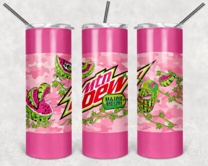 Mountain Dew Major Melon 20oz Skinny Tumbler custom drinkware - with straw - Stainless Steel cup