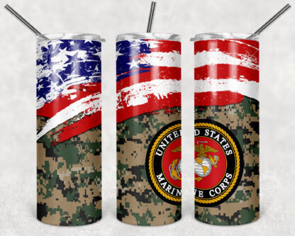 Marines 20oz Skinny Tumbler custom drinkware - with straw - Stainless Steel - American Flag