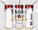 Modelo 20oz Skinny Tumbler custom drinkware - with straw - Stainless Steel Cup