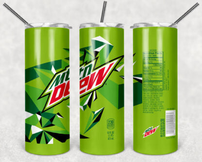 Mountain Dew 20oz Skinny Tumbler custom drinkwear - with straw - Stainless Steel cup