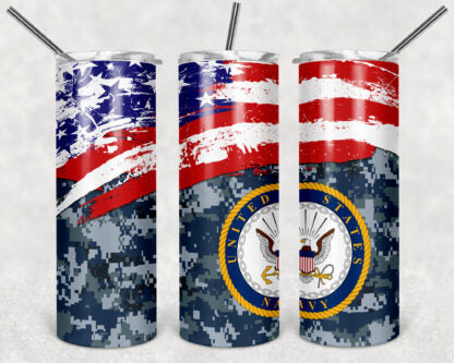 Navy 20oz Skinny Tumbler custom drinkware - with straw - Stainless Steel - American Flag