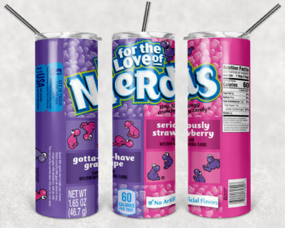 Nerds Candy 20oz Skinny Tumbler custom drink wear - with straw - Stainless Steel cup
