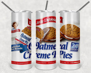 Little Debbie Oatmeal Creme Pies 20oz Skinny Tumbler custom drinkwear - with straw - Stainless Steel cup