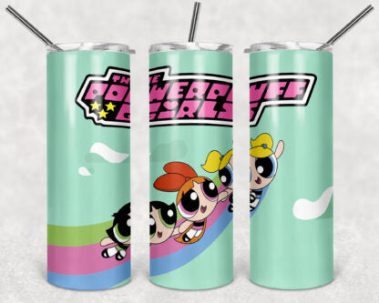 PowerPuff Girls 20oz Skinny Tumbler custom drinkwear - with straw - Stainless Steel cup