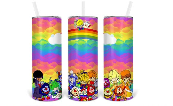 Rainbow Brite and Friends  20oz Skinny Tumbler custom drinkware - with straw - Stainless Steel Cup