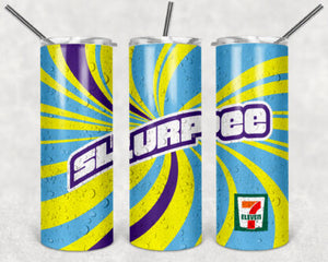 Slurpee 20oz Skinny Tumbler custom drinkware - with straw - Stainless Steel - 7 Eleven