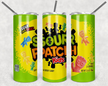 Sour Patch Kids 20oz Skinny Tumbler custom drinkware - with straw - Stainless Steel