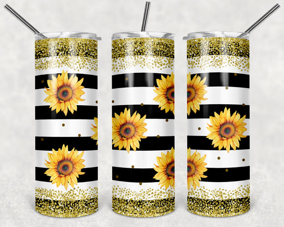 Sunflower Glitter 20 oz Skinny Tumbler custom drinkwear - with straw - cup