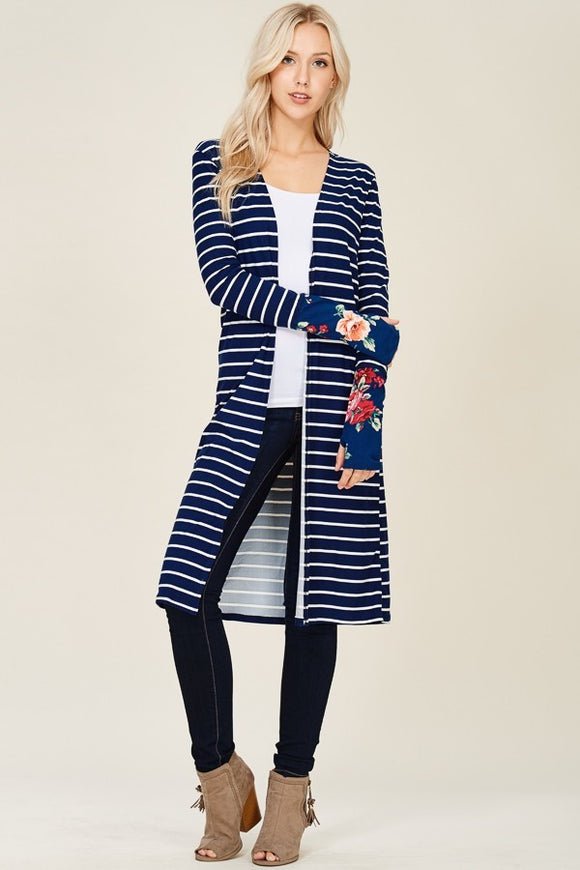 Long Sleeves Striped Cardigan, floral cuff with thumbhole - Navy