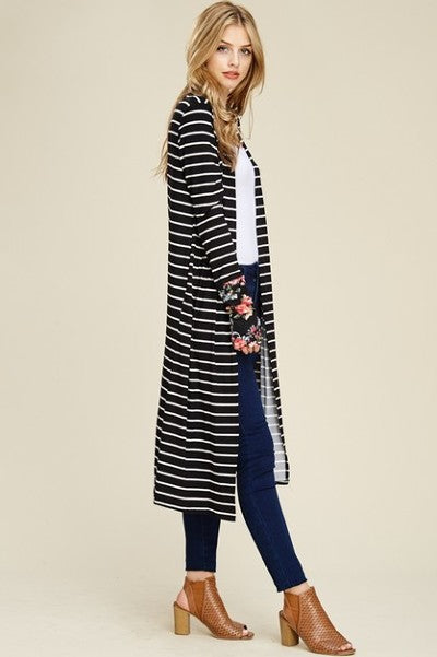 Long Sleeves Striped Cardigan, floral cuff with thumbholes- Black and white