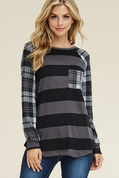 Plaid print long sleeves stripe plus size top - Black Grey - long