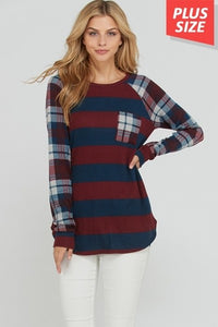 Plaid print long sleeves stripe plus size top - burgundy, navy - long
