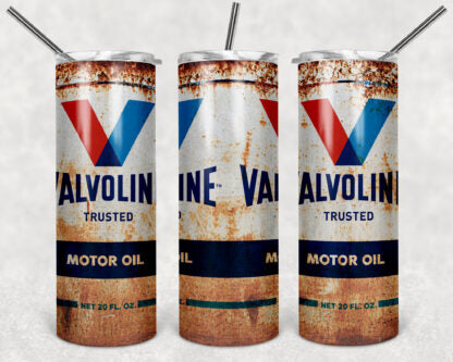 Valvoline Motor Oil  20oz Skinny Tumbler custom drinkware - with straw - Stainless Steel cup
