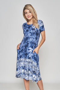 BLUE TIE DYE SHORT SLEEVE BORDER PRINT DRESS WITH SIDE POCKETS