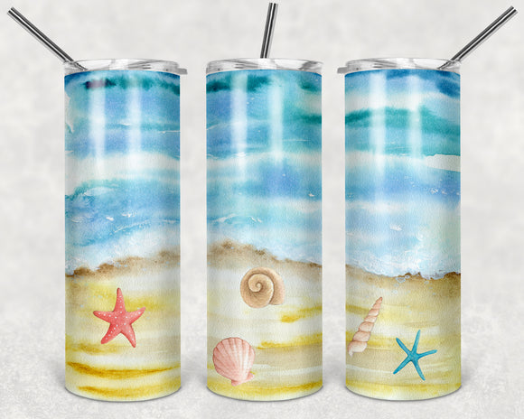 Watercolor Beach Scene 20 oz Skinny Tumbler custom drinkwear - with straw