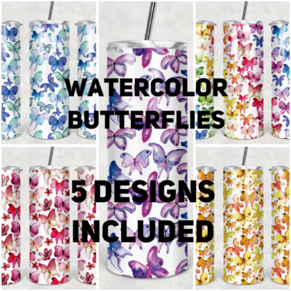 Watercolor Butterflies 20 oz Skinny Tumbler custom drinkwear - with straw - cup