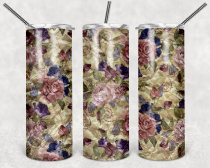 Wild Flowers 20 oz Skinny Tumbler custom drinkwear - with straw - cup - 4 different styles