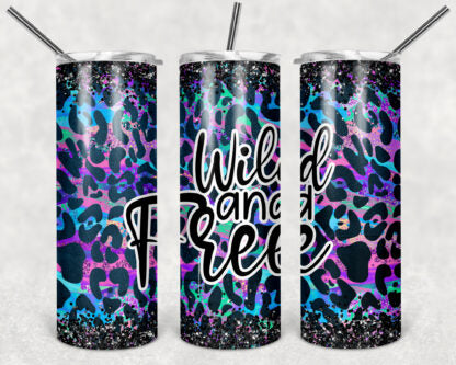 Wild And Free Leopard Print 20 oz Skinny Tumbler custom drinkwear - with straw - cup