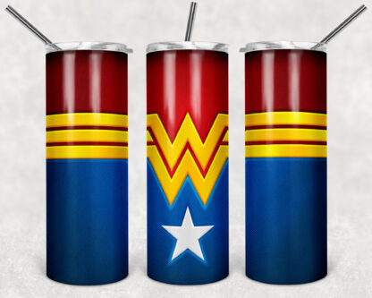 Wonder Woman 20oz Skinny Tumbler custom drinkware - with straw Stainless Steel cup