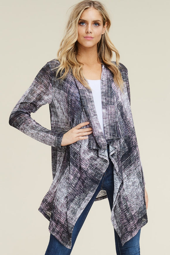 LIGHTWEIGHT KNIT FABRIC CHECK PRINT CARDIGAN
