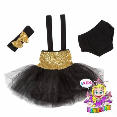 Black gold tutu dress - black dress - matching headband and bloomers - girls