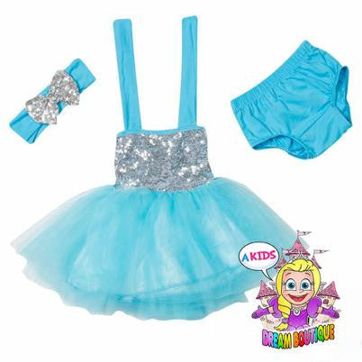 Blue Silver 3 piece tutu dress outfit with matching headband and bloomers - girls