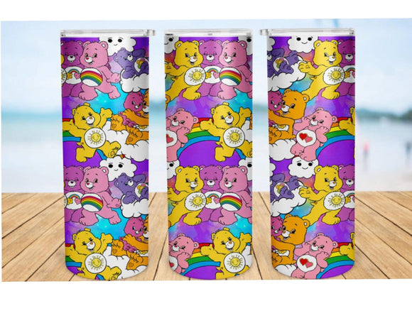 Care Bears 20oz Skinny Tumbler custom drinkware - with straw - Stainless Steel cup