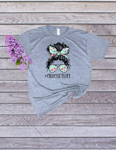 Ladies #Crochetlife Tee ladies- shirt - women crochet life top
