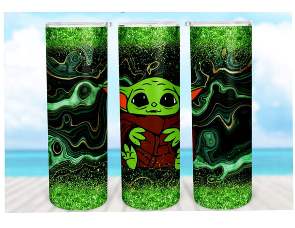 Baby Yoda 20oz Skinny Tumbler custom drinkware - with straw Stainless Steel Cup