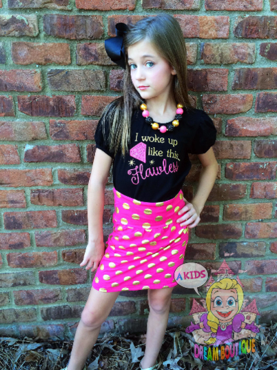 Pink gold polka dot boutique style pencil skirt  - toddler girl skirts - birthday