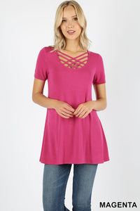 SHORT SLEEVE TRIPLE LATTICE FRONT TUNIC TOP - Magenta color Shirt - criss cross
