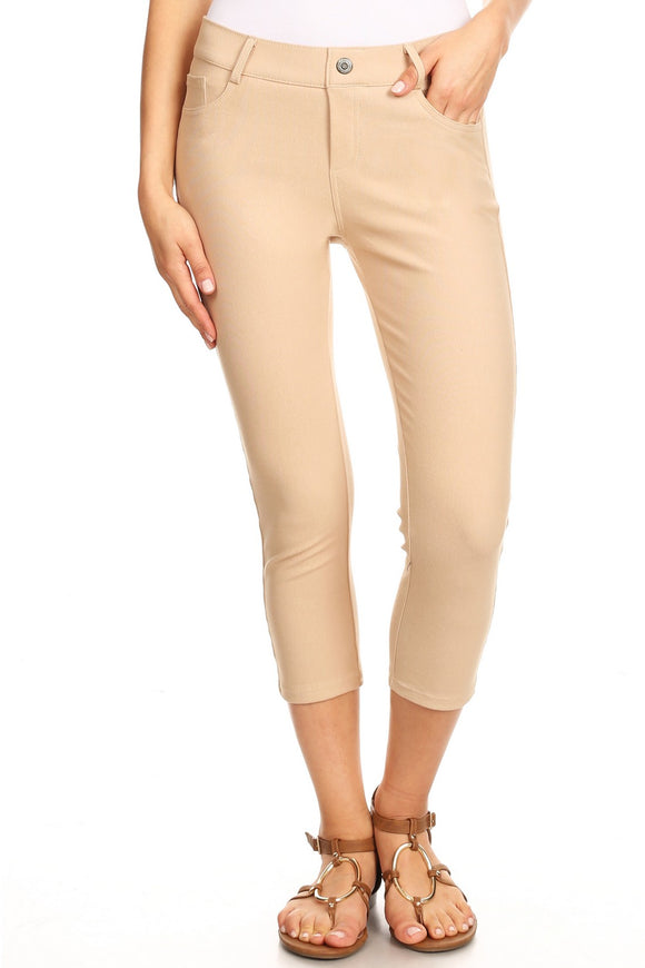 Camel color Plus size Jean Capris  Jeggings - 5 Pockets Tan