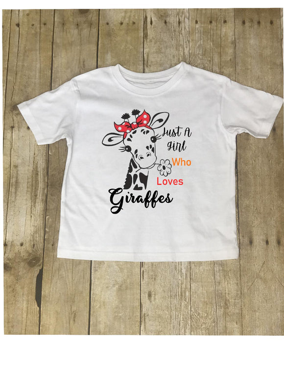 Just A Girl Who Loves Giraffes Tee ladies- shirt - top - white t-shirt - Ladies and Girls