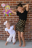 Purple gold polka dot ruffle capris - Boutique pants toddler girls birthday