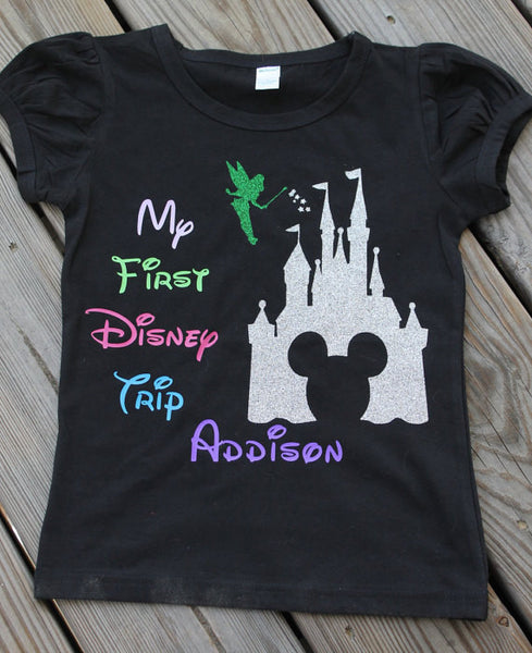 My first Disney trip shirt - personalized Mickey mouse - Castle