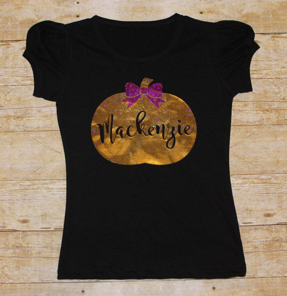 Gold Personalized Pumpkin Shirt - Halloween - Girls - Thanksgiving