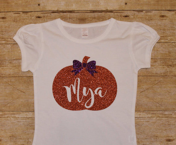 Pumpkin Glitter Girls Shirt - Monogram - Personalized