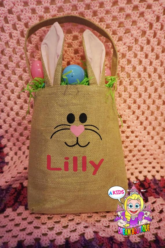 Burlap personalized Easter basket bunny Easter basket bag - bunny ears