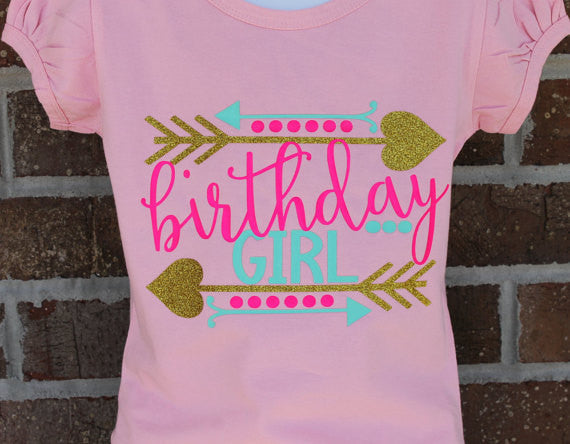 Birthday Girl glitter birthday shirt - fancy boutique girls shirt