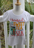 Raised on Sweet Tea and Jesus girls shirt - Girls Southern shirt - Boutique style