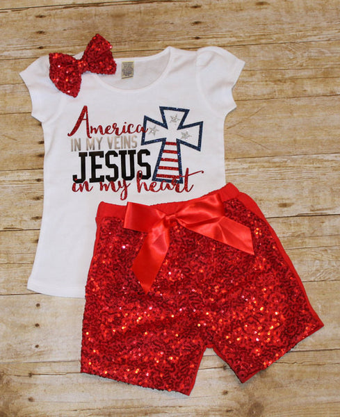 America in my veins Jesus in my heart Girls shirt - 4th of July
