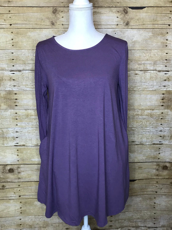 BOAT NECK FLARED TUNIC TOP WITH SIDE POCKETS - 3/4 Sleeves - Lilac Grey