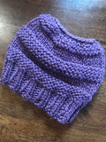 Hand knitted ponytail ladies purple beanie hat