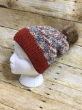 Knit Beanie Hat fall Autumn colors slouch beanie hat fur Pom Pom