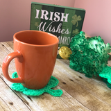 Crochet Shamrock coasters st. Patrick's Day handmade home accessories