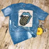 Turquoise lips leopard tongue print bleached Tee Shirt