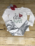 "Girls Christmas ""Hot Coca Cutie"" Top long sleeves white shirt"