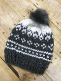 Hand knitted Adult size beanie hat Grey and white fair isle design with fur pop pom