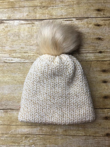 Baby Newborn Beanie Hat - handmade - Gold and silver- double layer - knitted