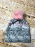 Hand knitted Adult size beanie hat Grey and pink color with fur pop pom